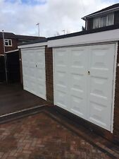 fully Fitted 1/3 x 2/3 square design white side hinged garage door and frame
