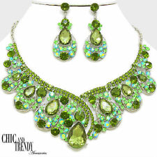 HIGH END GREEN AURORA BOREALIS CHUNKY CRYSTAL WEDDING FORMAL JEWELRY SET