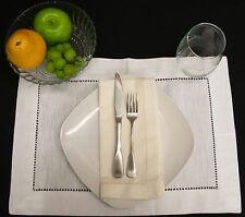 "Ivory Hemstitch 20""x20"" Cotton Dinner Napkins 1 Dzn"