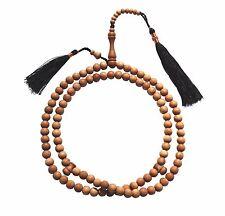 8mm Scented Sandalwood Tree 99-Bead Muslim Tasbih Prayer Beads w/ Black Tassels