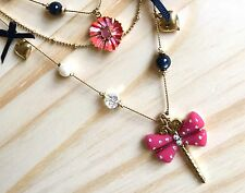 NWT Betsey Johnson Secret Garden Dragonfly Flower Gold Layered Chains Necklace