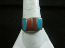 VINTAGE STERLING SILVER TURQUOISE AND CORAL RING SIZE 10.25