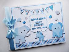 Blu Personalizzata elefanti BABY SHOWER BOY Libro degli ospiti-qualsiasi design