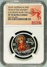 2016 P Australia PROOF Silver Lunar Year of the Monkey Baby NGC PF 70 1/2oz Coin