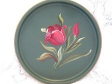 Pretty Garden Tulips Vintage French Country Green Tole Dresser Jewelry Tray
