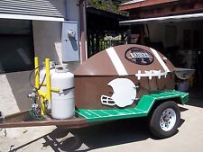 Barbque Tailgaters ultimate bar-b-que, Towable Propane football barbque.