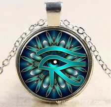 Egyptian Eye of Horus Ra Udjat Glass Art Pendant Chain Amulet Pagan Necklace 263