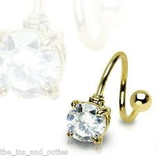 Gold Round Twist Clear Gem Belly Ring Navel 16g (w647)