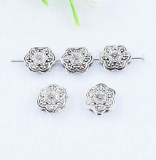 10PCS Tibet Silver Plum Flower Spacer Beads Jewelry Bracelet Necklace Find 10mm