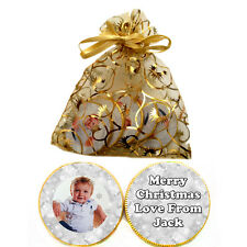1 x bag of 5 Personalised Photo CHRISTMAS SNOWFLAKE Belgian CHOCOLATE COINS Gift
