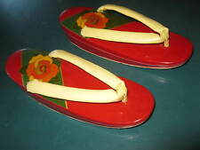 Vintage WWII era Japanese Chinese oriental wood sandals shoes womens decorative