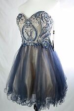 $319 Glamour by Terani Couture Beaded Bodice Party Dress Prom Wedding Sz 4 Navy