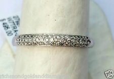 2.5mm 3 Rows Diamonds Anniversary Wedding Band Micro Pave White Gold Stackable