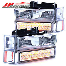 CHROME/AMBER BUMPER+CORNER+HEADLIGHTS SET CHEVY C10 C/K 1500/2500/3500 94-98