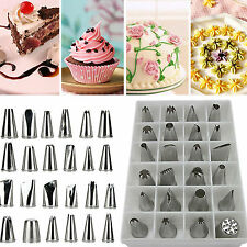 24 Pcs Icing Piping Nozzles Pastry Tips Cake Sugarcraft Decorating Tool Set HS