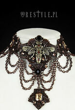 Gothic Victorian Steampunk Vintage Mechanical Bee Bronze Choker Necklace