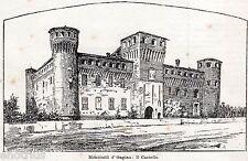 Monticelli d'Ongina: Castello.Piacenza.Emilia. Stampa Antica + Passepartout.1901