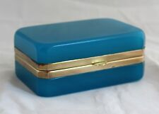 Vintage Murano Italy Italian Blue Opaline art glass trinket jewelry hinged Box