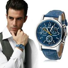 Fashion Men Leather Stainless Steel New Military Sport Quartz Wrist Watch SE