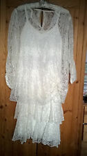 Size 12 VTG 80s does 20s Ivory Lace Wedding Dress Party Dinner Downton Gatsby