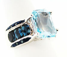 Glacier Topaz ™ 8.59 Ct. Oct., Barehipani Topaz ™ Blue Diamond Ring Sz 7