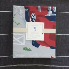 POTTERY BARN KIDS Vintage Cars duvet cover only Twin red, blue navy race cars