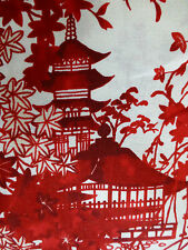 Oriental Pagodas TOILE Fabric Fat Quarter Cotton The Royal Story Quilting RED