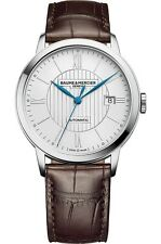 Baume and Mercier 'Classima' Silver Dial Brown Leather Automatic Watch MOA10214