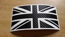 Medium CARBON FIBRE Union Jack GB Car Sticker Decal Mini Jaguar Triumph Lotus