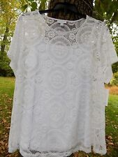 3X Charter Club Crochet Lace Pullover 2 pieces set Top