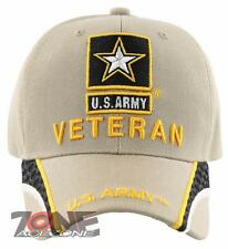 NEW! US ARMY STAR VETERAN SIDE LINE BALL CAP HAT TAN