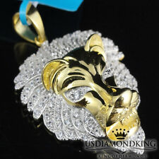 Men's Yellow Gold Over Sterling Silver Lion Head Lab Diamond Pendant Charm 1.88""