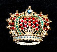 KJL Kenneth Jay Lane Royal Crown Red Blue Green & Clear Crystal Pin Brooch