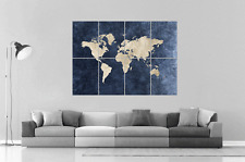 CARTE DU MONDE WORLD MAP HOME DECO Wall Art Poster Grand format A0