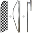 Checkered Black White 15' Tall Swooper Flag & Pole Kit Feather Super Bow Banner