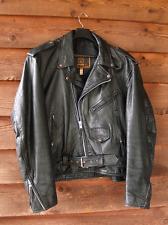 ESTATE FIND Vintage MENS BLACK LEATHER BIKER MOTORCYCLE JACKET Size 54