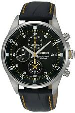Seiko Men's SNDC89P2 Black Leather Quartz Watch