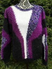 Mohair Sweater Womens One size Purple/Black Fuzzy Vintage Hand Knit OVERSIZED 2