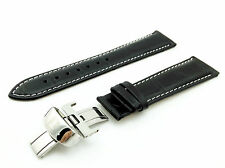 Genuine Leather STRAP/BAND for TISSOT WATCH 19mm PRC200 Steel Pins/Clasp BLACK