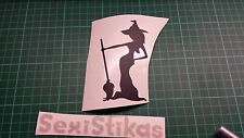WITCH CURVY SEXY BROOM Car/Bike/Window/Wall/Laptop Halloween Vinyl Decal Sticker