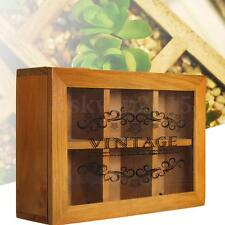 6 Compartments Sections Wooden Tea Storage Box Jewelry Container With Glass Lid