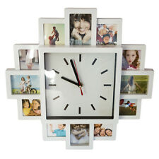 HOME 12 PHOTO FRAME WALL MOUNTED WHITE CLOCK MODERN COLLAGE MULTI PICTURE INDOOR