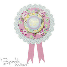 Classy Hen Night/Party ROSETTE for Bride to Be -Shabby Chic Floral/Vintage Style