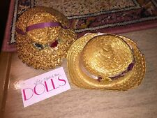 2 vintage woven straw hats with TLC floral trim for antique dolls