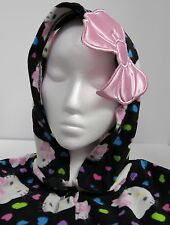 Hello Kitty Hooded Footed One Piece Pajamas Juniors L 11-13 Black Print Pink Bow
