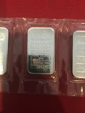 Five Johnson Mathey  - JM   1oz .999 Fine Silver Bars - New Sealed
