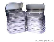 10 X MINI SILVER HINGED TOBACCO/SURVIVAL KIT TIN IDEAL FOR TINDERS FIRELIGHTING