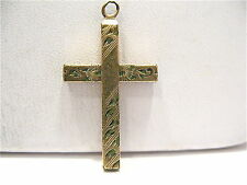 ANTIQUE GOLD FILLED HOLY CROSS PENDANT ETCHED DESIGNS 14 X 20 MM
