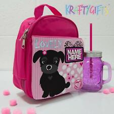 Personalised Cute Puppy Dog Girls Pink Childrens School Lunch Box Cool Bag ST133