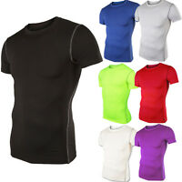 Mens Compression Base Layer T-Shirt Short Sleeve Top Tight Thermal Sports Gym